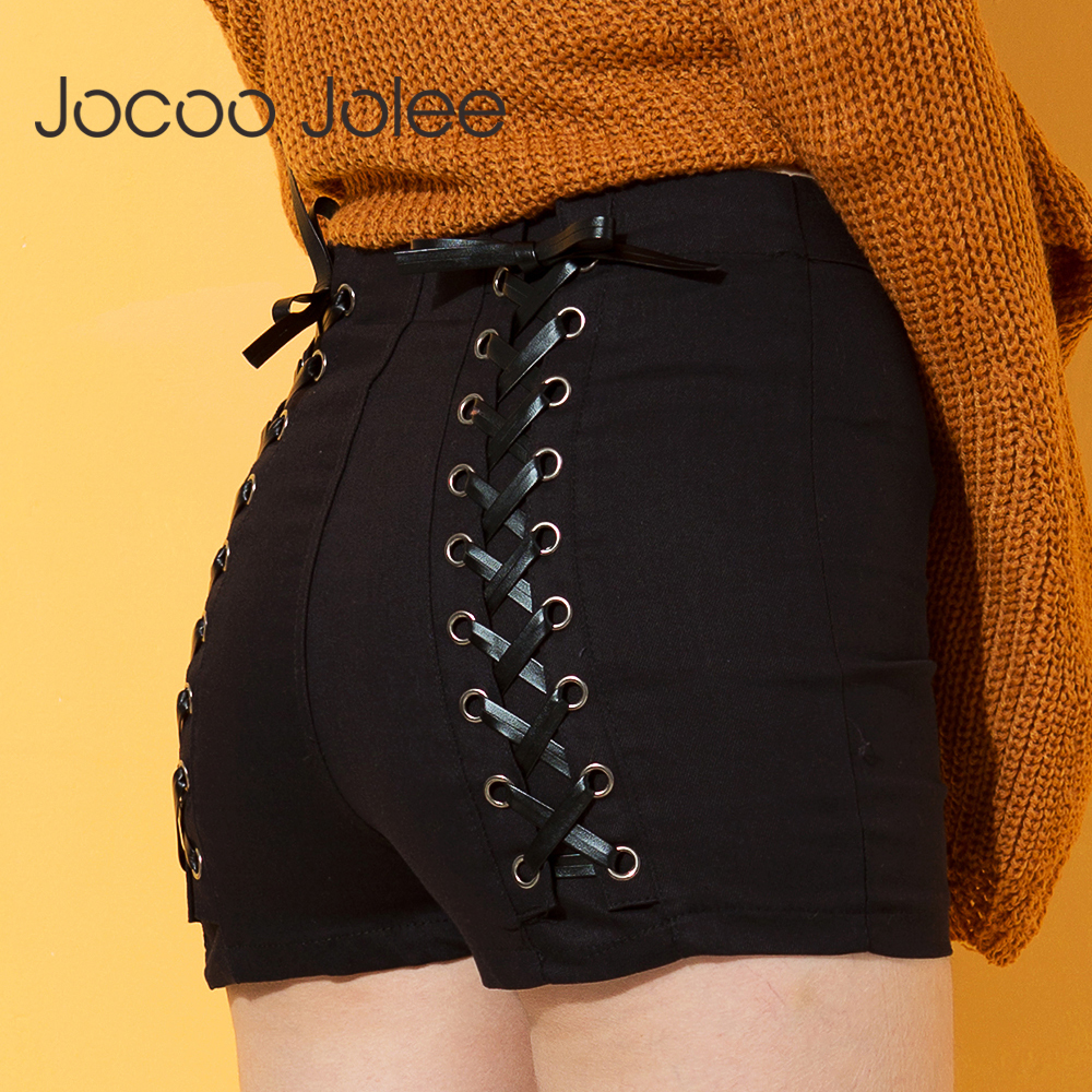 Jocoo Jolee Sexy Summer Women Denim Shorts 2018 New Black High Waist Ripped Short Jeans Femmen Back Lace Up Bandage Shorts New