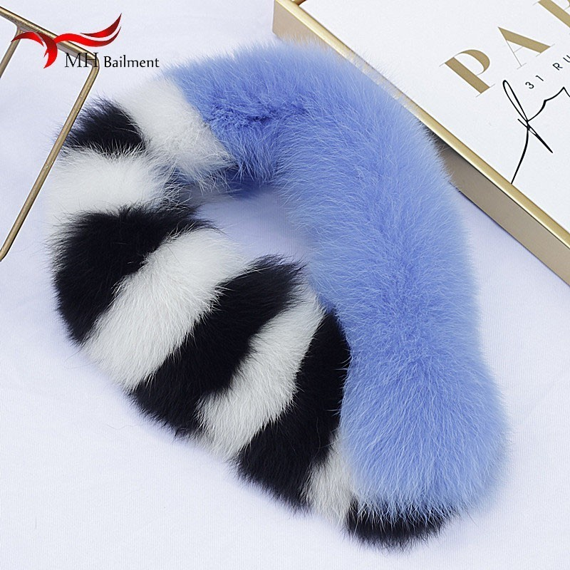 Hat Gloves Set Fur Scarf Woman New 100% Fox Fur Scarf Bib Female Stitching Long Section Thick Fashion Out Warm Belt Clip Scarf Women's Accessories Women's Scarf Sets