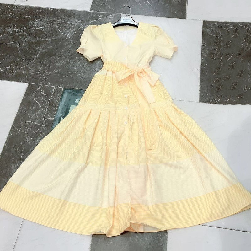 Pour Haute Robe Courtes Femmes yellow Robes Cou Twotwinstyle Up Dentelle V Rayé Blue Mode Midi pink Printemps Puff Taille Casual Féminine 2019 Manches 6qvtwE