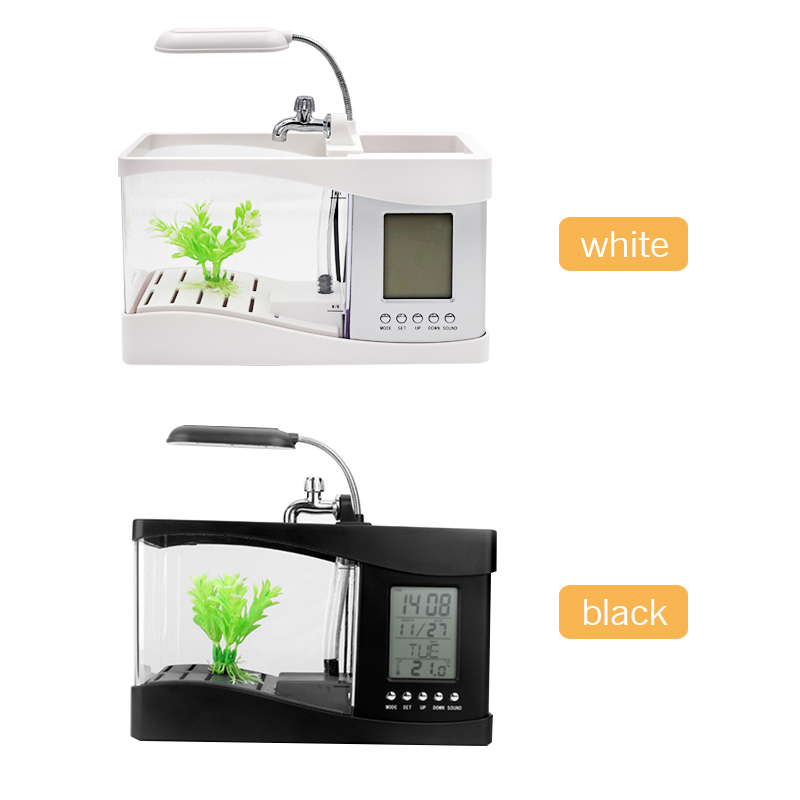 Aquarium Mini Aquarium d'aquarium d'aquarium avec écran d'affichage à cristaux liquides de lumière de lampe à LED et Aquarium de réservoir de poissons d'horloge - 5