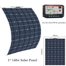 18V 140W solar panel Monocrystalline with 12V/24V 20A controller Flexibles Solarpanel Fleksibelt solpanel for home RV Boat Car