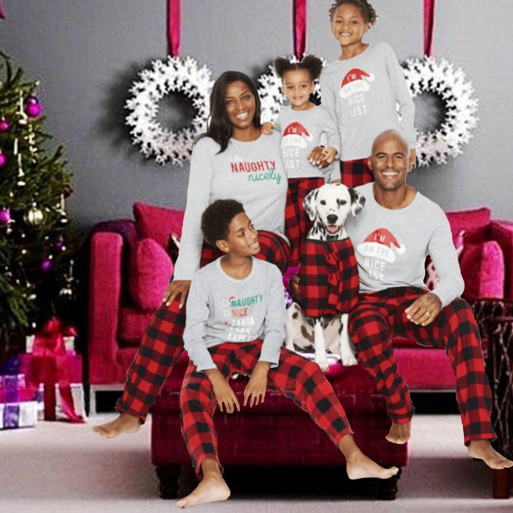 Christmas Family Matching Pajamas Set Adult Mens Womens Kids Sleepwear Nightwear