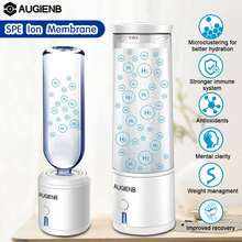 AUGIENB SPE/PEM Membrane Hydrogen Rich Water Bottle Electrolysis Ionizer Generator USB Rechargeable Removal O3 CL2 Water Ionizer