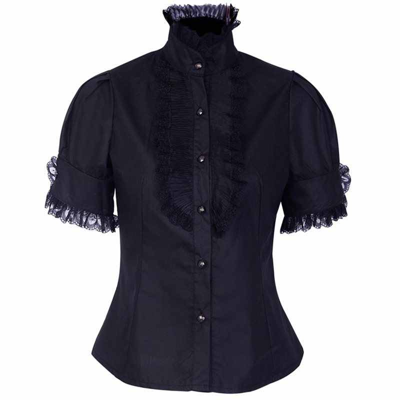 Rose femmes Blouses gothiques dentelle Vintage drapé Patchwork Lolita Style solide noir Sexy Slim haut d'été fille élégant Goth chemise