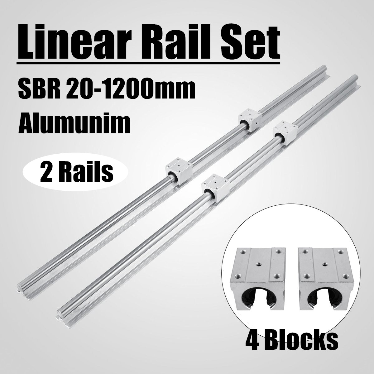 20mm 2 PCS SBR20 Linéaire Rail Portant Glissières Arbre Kit avec 4 pcs SBR20UU Bloc De Palier En Alliage D'aluminium matériel Raccords
