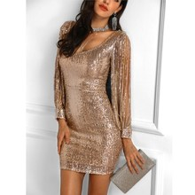 2019 Summer Women Sparkle Glitzy Sequined Dress Female Long Sleeve Club Party Sexy Tassel Mini Bodycon