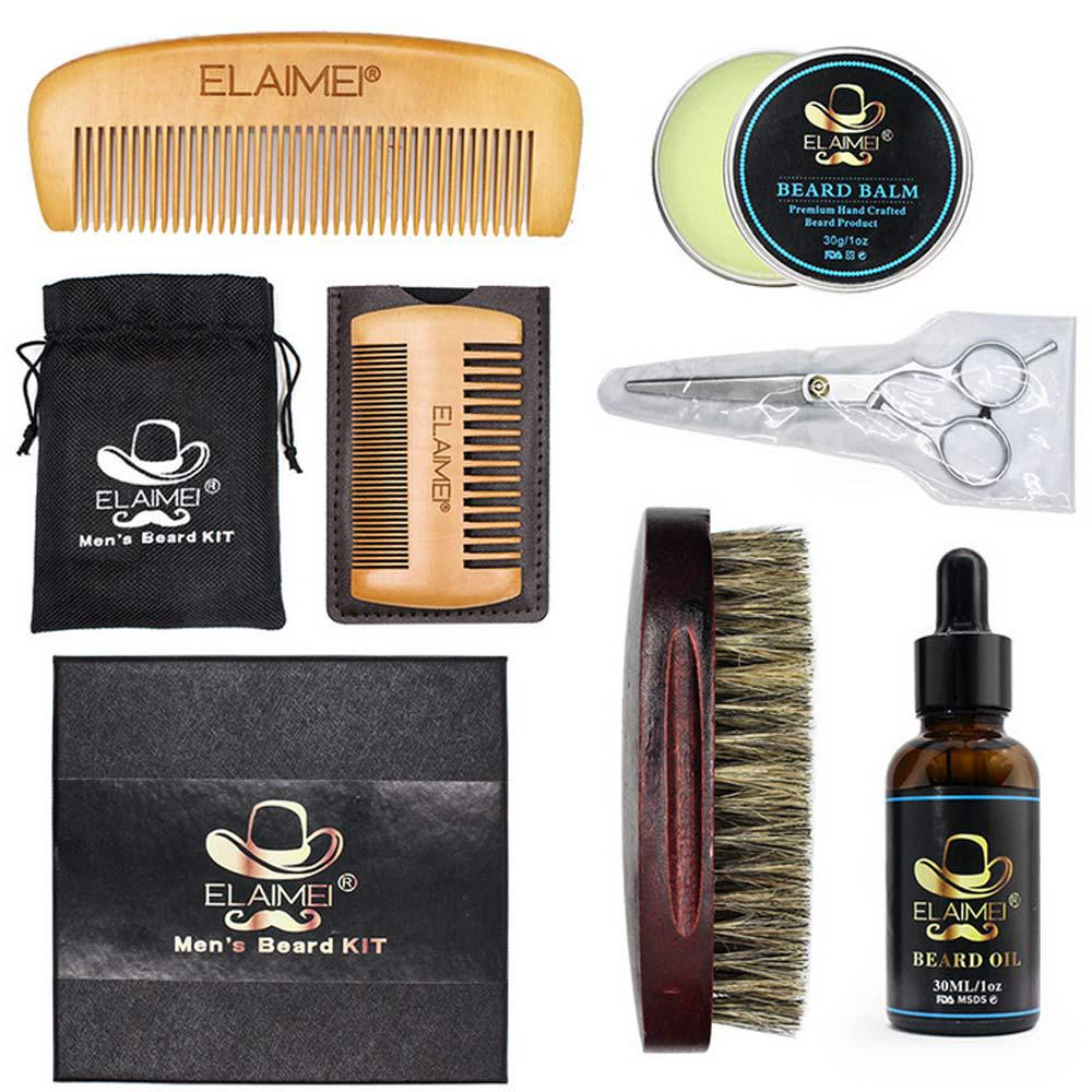 Image 2 - Beard Clean Set Trimming Kit With Essential Shampoo Brush Comb Oil Cream Scissors for Men Cleanse Refresh Grooming Perfect Gift-in Shaving Brush from Beauty & Health