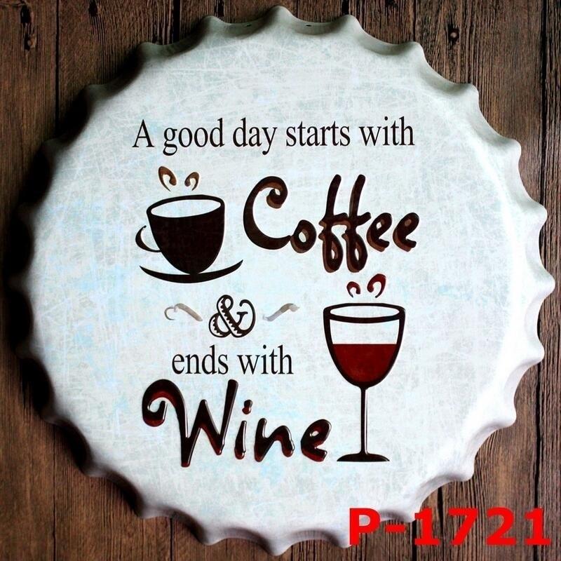 40CM Vintage Home Decoration Coffee Wine Vintage Tin Signs ...