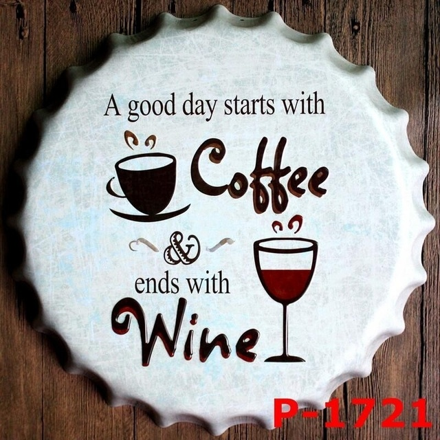 40cm Vintage Home Decoration Coffee Wine Vintage Tin Signs Kitchen