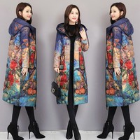Lightweight Winter Jacket Women Fashion Hooded Slim Plus size Down Jacket Print Long Overcoat Parka doudoune femme hiver ls187