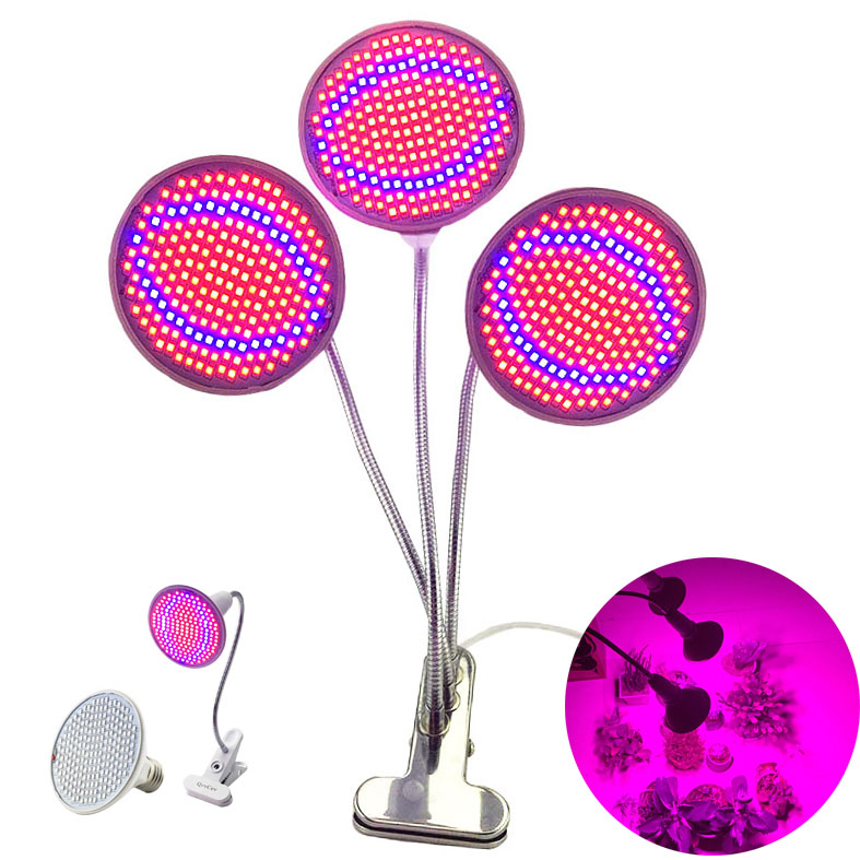 3-Head LED Plant Flower Grow Light Phyto Growing Lamp For Growbox Tent Indoor Veg Seeds Room Hydro E27 Red Blue Holder Bulb Clip