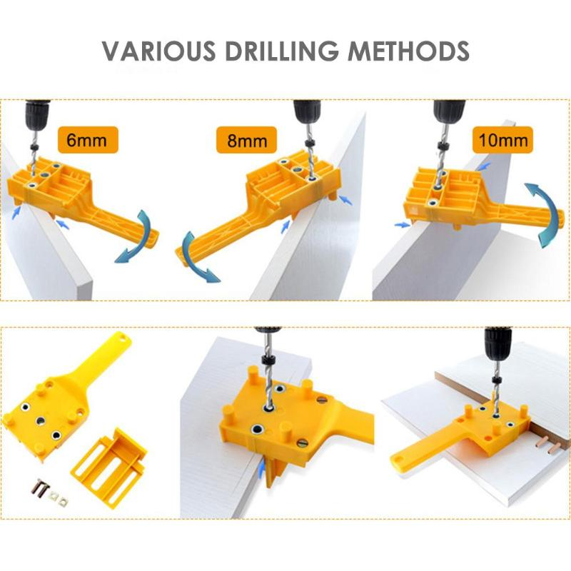 Dowel Jig ABS Plastic Woodworking Jig Pocket Hole Jig For 6 -10mm Dowel Joints Drilling Guide Tools Handheld Drill Guide