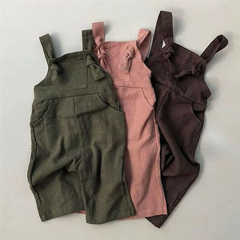 1-6Y Summer Casual Kids Boy Girl Solid   Romper   Sleeveless Strappy Linen Jumpsuit Unisex Kids Dungaree Clothes Backless Sunsuits