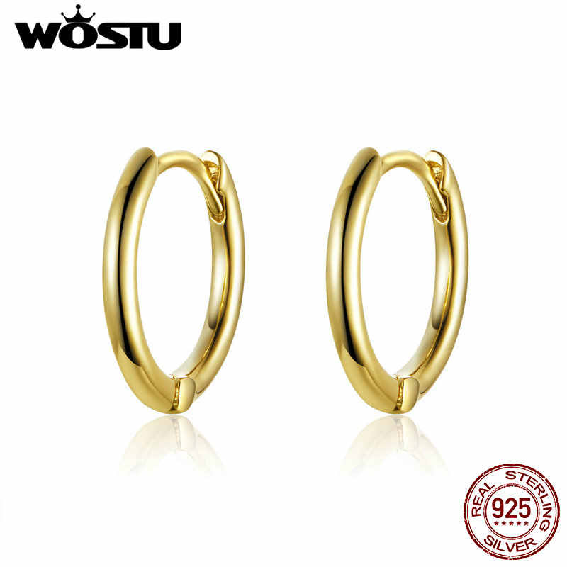 WOSTU Korean Fashion 925 Sterling Silver Circle Gold Color Stud Earrings For Women Wedding Engagement Silver 925 Jewelry CQE558