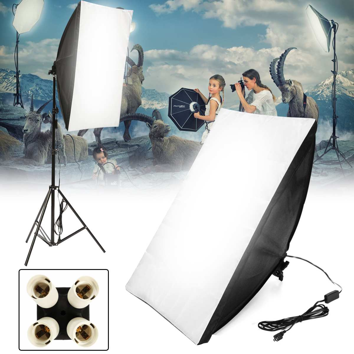 Photo Video Studio Kit Lighting Softbox 50*70cm + E27 Socket Lamp Head Holder + Carry Bag