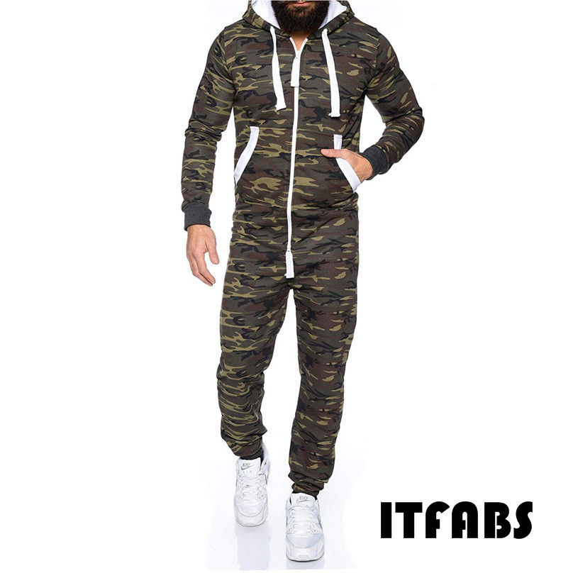 86ef949dae3 2019 Winter Men s Plus Size Camouflage Printed Playsuit One Piece Adult  Mens Women Superman Hooded Zipper