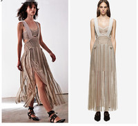 The Self portrait nude condole belt tassel sexy hollow out the first quarter dress
