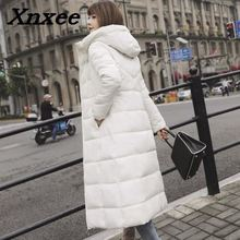 цены Autumn winter women thickened down cotton parkas long winter coat warm slim outwear parkas hooded female solid coats with pocket