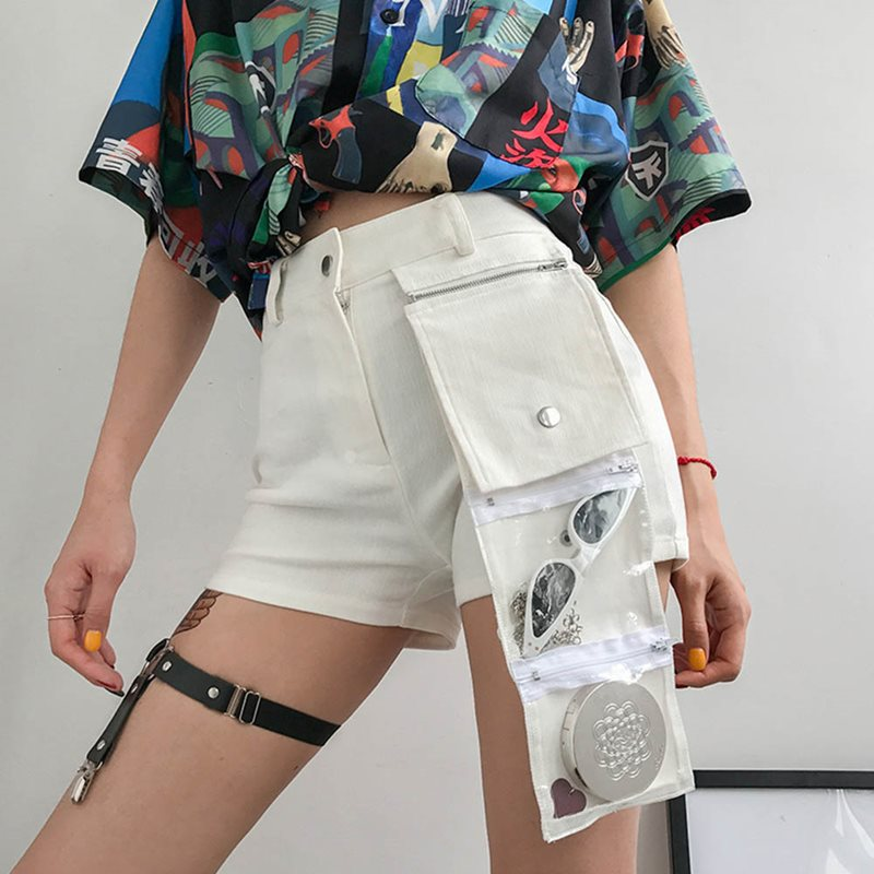 Summer Women   Shorts   Casual White Simple Gothic 2019 Office Lady Sexy Club Streetwear Skinny Zipper Pocket Female Fashion   Shorts