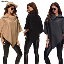 2018 New Fashion Womens Irregular Loose Bat Sleeves Turn-down Neck Poncho Cape Coat Laipelar