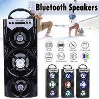 LEORY Outdoor Party Camping Speaker Wireless Bluetooth Portable Speakers Loudspeaker Subwoofer FM Radio Cool LED Light TF Card