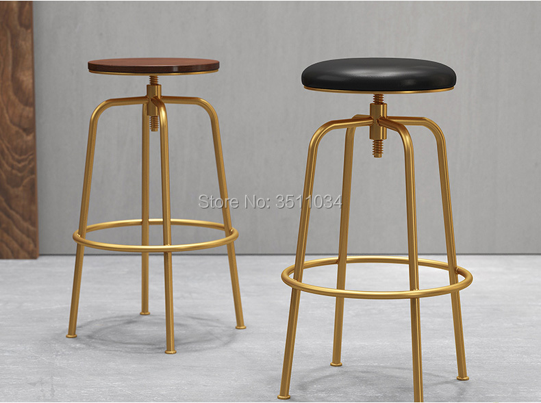 New coming Nordic iron solid wooden bar chair, golden bar chair, Starbucks bar stool, front desk chair, leisure lift chair europe type restoring ancient ways wrought iron bar chair lift chair the foot stool