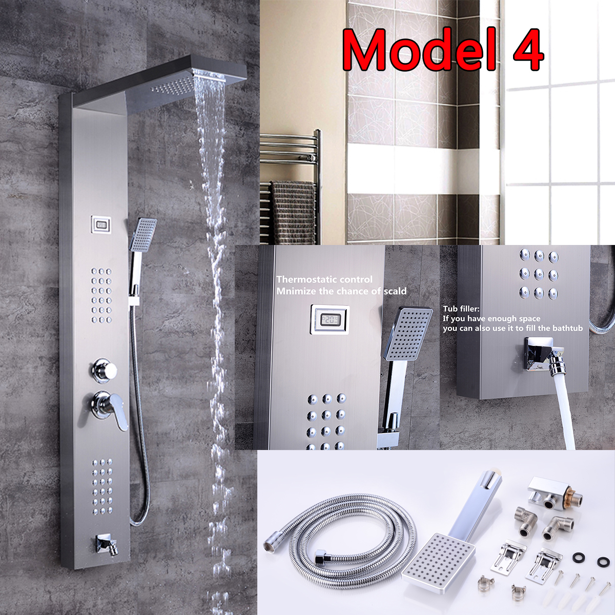Shower Faucets Brushed Nickel Finish Massage Jet Tankless Rainfall Shower Tower Bathroom Rainfall Shower Panel Thermostatic Spout Shower Column