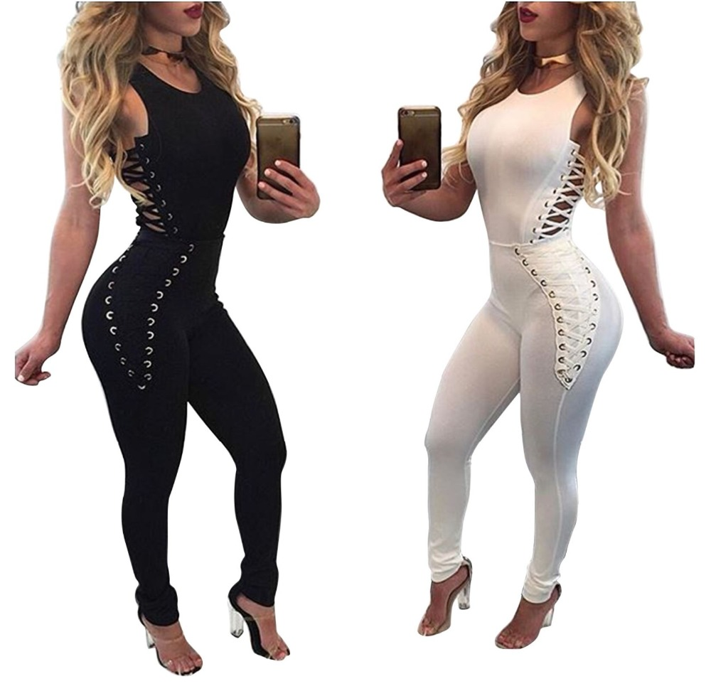 Woman high quality modal solid color holes sleeveless jumpsuits lady skinny full length sexy o neck jumpsuits in Jumpsuits from Women 39 s Clothing