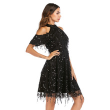 MUXU fashion black sequin dress women vestidos patchwork fringe party sexy off shoulder glitter loose kleider jurken elbise