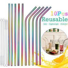 7 piezas reutilizables paja de Metal de acero inoxidable con la paja de cepillo limpiador para fiesta Bar Accesorios