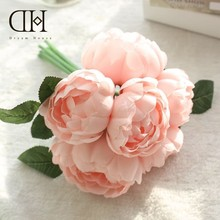 Dream House DH Rose Peony Flower Bridal Hand Bouquet Silk Fabric Flowers For Home Weding Decoration Accessories Diy