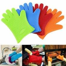 Новейшие кухонные термостойкие силиконовые перчатки держатель для посуды для духовки выпечки барбекю кулинарные рукавицы перчатки для мытья посуды