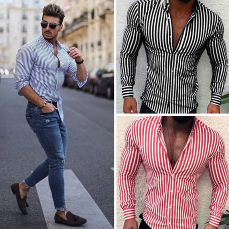 2019 Fashion Men Stripe Long Sleeve European Standard Slim Fit Formal Tops Spring Three Colors Men Shirt