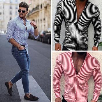قميص رجالي بخطوط وأكمام طويلة على الموضة لعام 2020 بمعايير أوروبية رفيعة مناسب للربيع قميص رجالي بثلاثة ألوان 1
