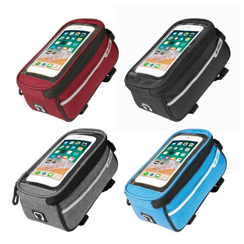 B-SOUL водостойкий MTB дорожный велосипед Передняя труба сумка 6 дюймов телефон сенсорный экран седло мобильный телефон с отверстием для наушни...