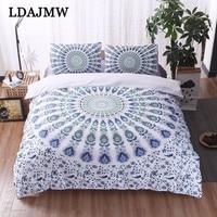LDAJMW Mandala Bedding Set Large Soft Bedding Twill Bohemia Floral Print Duvet Set With Pillow Case 3 Piece Set