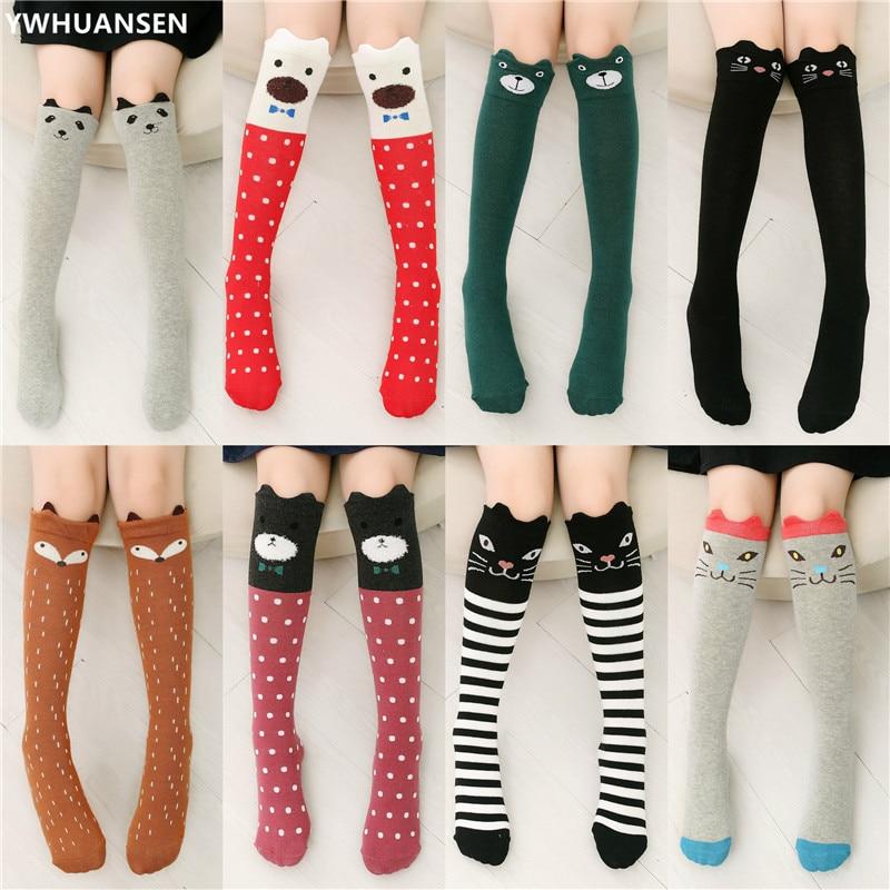 YWHUANSEN 1 Pair 2018 Girls Knee High Socks Animal Cotton Knit Over Calf Socks For Kids Teens Cute Cartoon Children Socks Spring