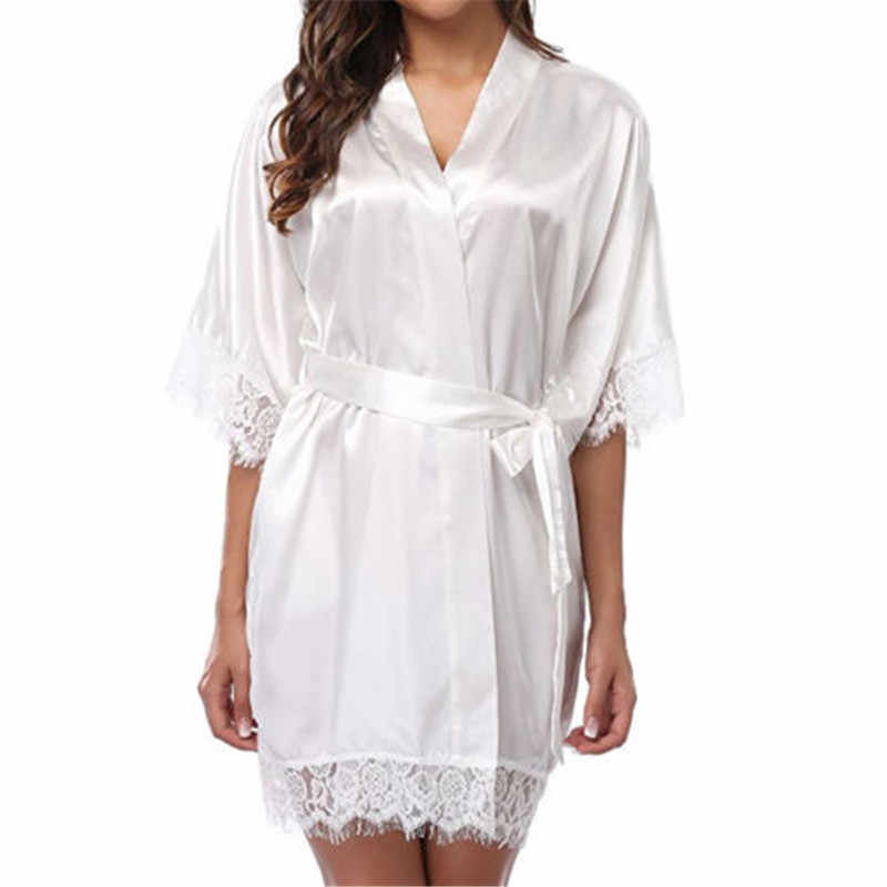ファッション因果ルースソリッドレディースロングスリーブ V ネックシルクサテン結婚式のウエディング花嫁ガウン着物夏の服