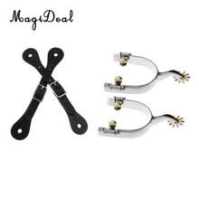 English Metal Equestrian Spurs + Cow Leather Spur Straps for Men Outdoor Horse Riding