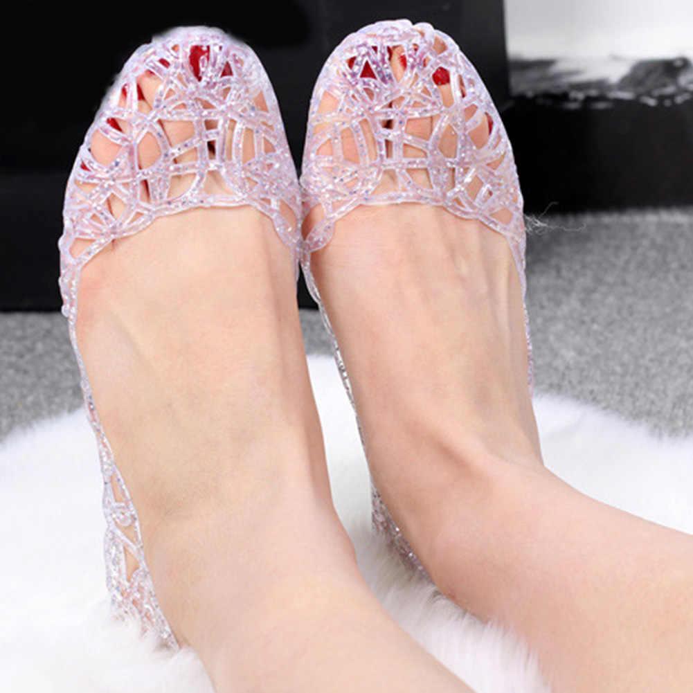 Xăng Đan Nữ 2020 Thời Trang Nữ Gái Mùa Hè Giày Nữ Jelly Giày Xăng Đan Khoét Hở Lưới Đế 23-25 Cm
