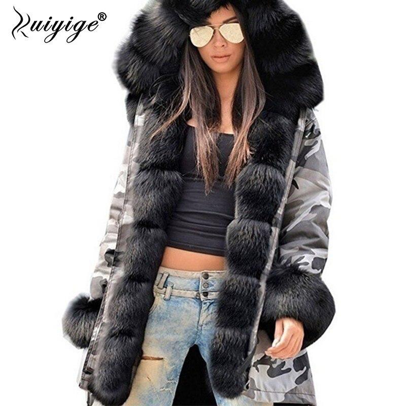 Ruiyige 2018 зимнее пальто для женщин меховой воротник теплая Женская Камуфляжная парка верхняя одежда толстая зимняя куртка Женский casacos de inverno