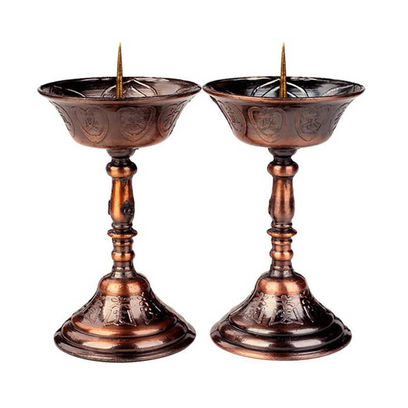 Home Decor 2pcs/lot Metal Votive Candlestick Lotus Retro Candle Holders For Daily Pray Buddha Candelabra Butter Lamp Holder Buddhist Selected Material
