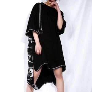 Image 2 - [EAM] 2020 New Spring Summer Round Neck Short Sleeve Black Big Size Letter Printed Irregular Hem Dress Women Fashion Tide JQ326