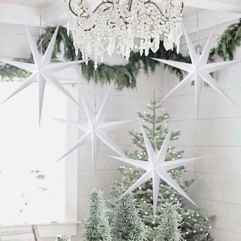 1pc New Year Decoration 60cm 24 Xmas Hanging Paper Star Lantern Christmas Ornaments Festival For Home