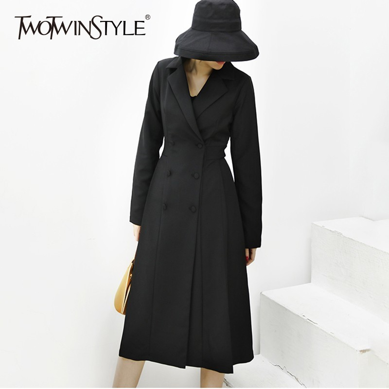 TWOTWINSTYLE Patchwork Pleated Hem Windbreaker Women Long Sleeve Double Breasted   Trench   Coat Female 209 Spring Fashion Clothes