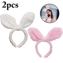 2PCS Cute Big Rabbit Ears Plush Headband Hair Hoop Creative Ear Band Party For Women