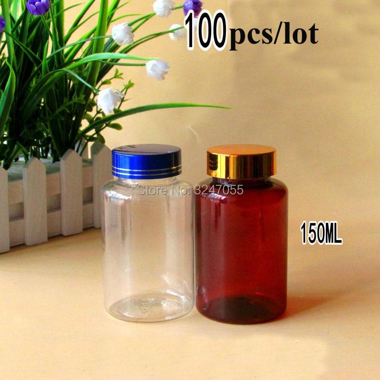100pcs lot 150ml PET Plastic Clear Brown Medicine Liquid Refillable Bottle Round Medicine Capsule Pill Tablets