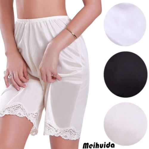 Summer Womens Comfy Casual Lace Hem Satin Shorts Sleepwear Sleep Short Femme Solid Sleep Wear Ladies Clothing  M~3XL