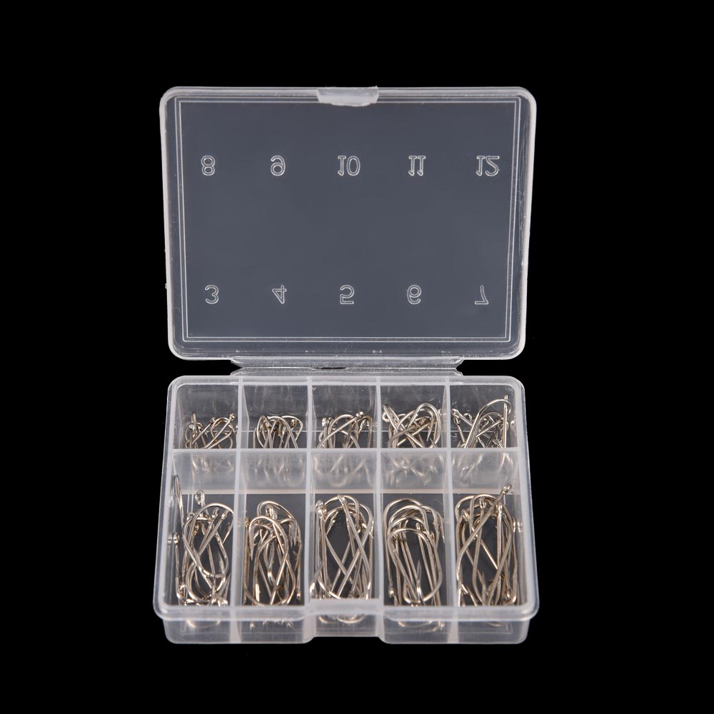 100Pcs 1 Box 10 Sizes Steel Fishhooks Carp Fishing Jig Head Set Pesca Anzol Fishing Tackle Fishing Hook With Hole 3# - 12#(China)