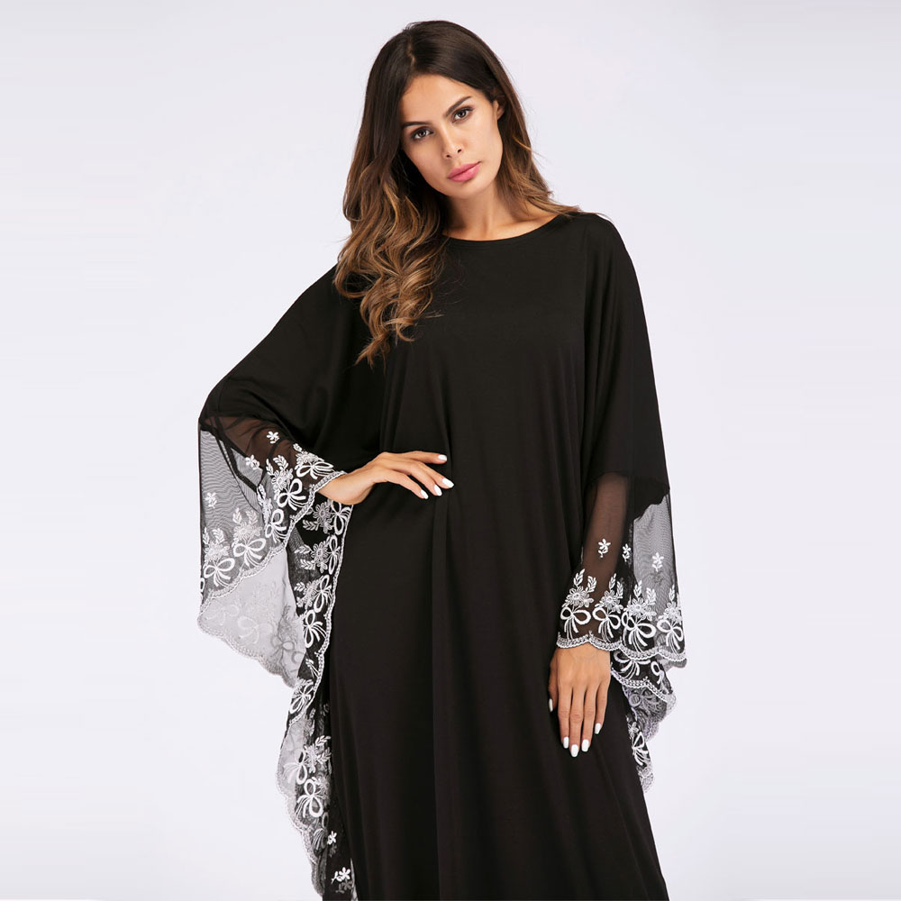 Fashion Adult Lace Embroidered Robe Maxi Dress For Women Batwing Sleeve  Chic Gown Kaftan Ramadan EID Abaya Plus Size VKDR1140